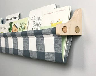Book Sling and Wooden Brackets - Gunmetal Large Check  Wall Organizer - Choose your size
