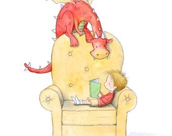 Henri Reads - Blond or Brown Hair - White Skin - Boy and Red Dragon Reading Books - Art Print - Children