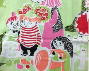 Moomin green pink Cotton Fabric for various projects, from Finland