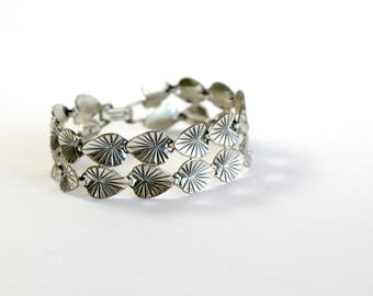 Vintage Danecraft Bracelet Sterling Silver Tropical Leaves Costume Jewelry Mid Century Fashion