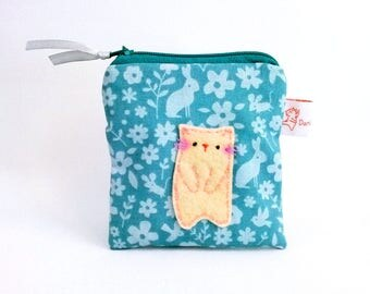 Cute purse, cat purse, turquoise coin purse, animal pouch, coin pouch, gift for cat lovers, cute kitten, coin purse, cat coin purse, pouch