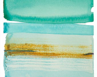 """Abstract Waterscape, Original Minimal Watercolor Painting, blue, green, teal, turquoise, brown 8 x 10"""" painting on paper, modern artwork"""