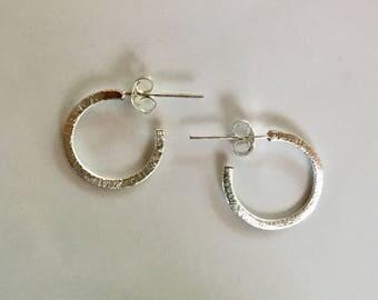Small Shimmering Sterling Silver Hoop Post Earrings