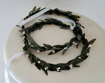 Olive Leaf Stefana Flower crown Greek Wedding Marriage white berries hair wreath set of 2 Bride Groom ribbon joined Orthodox ceremony