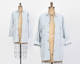 Vintage 80s Denim Jacket / 1980s Striped Blue & White Loose Fit Jean jacket