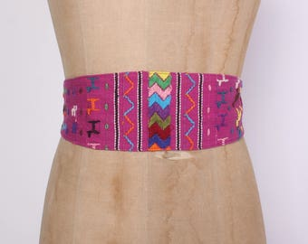 Vintage 80s GUATEMALAN Belt / 1980s Wide Woven & Embroidered Cotton Obi
