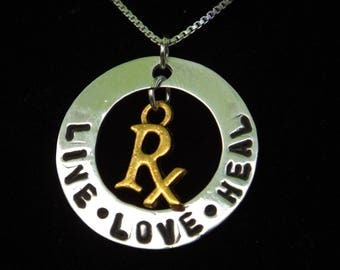 Pharmacist Rx necklace, Pharmacist gift, Pharmacist graduation, RPh necklace, Pharmacist jewelry, Pharmacy student gift, Pharmacy Tech gift