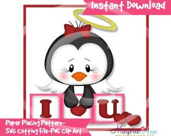 I Love You Penguin Paper Piecing File,SVG File,penguin svg, valentine svg, svg, penguin Clip Art, valentine Clip Art, svg file,penguin