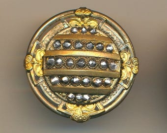 OH BOY SALE Button--Large Late 19th C. Bright Sparkly Cut Steels in Regency Style Brass