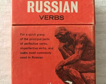 1960s Vis Ed Russian Language Compact Fact Flash Cards - Verbs