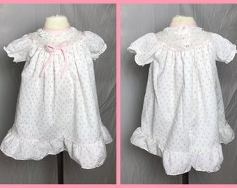 Newborn Baby Girl's Rosebud Calico Poly Cotton Dress with Yoke Neckline and Short Puff Sleeves by Alexis - Size 0 - 10 Lbs