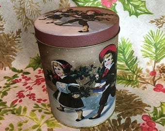 Christmas Sale Vintage 1980s Christmas Tin VICTORIAN CHILDREN Winter Holly Cookies Storage Container Taiwan