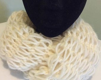 On Sale Knitted infinity scarf, neck warmer,cowl.White knitted neck warmer.Long infinity scarf.