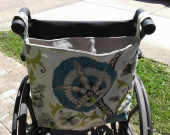 Turquoise Floral Wheelchair Bag, Wheelchair Tote