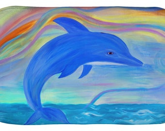 Blue dolphin coastal design kitchen or bathmat from my art