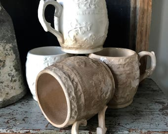 Ironstone cups,4 cups,  burnt sugar staining and crackle