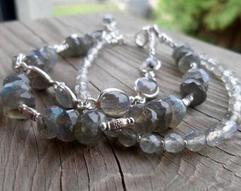 Super High Flash Smooth Labradorite Gemstone Sterling and Fine Silver Triple Strand Bracelet