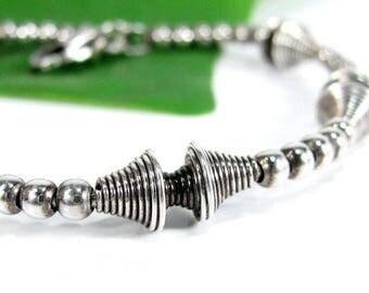 "Vintage ITALIAN STERLING BEAD Bracelet Space Age Modern Design Silver 7.5"""