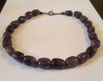 Hand Crafted Large Tumbled Amethyst Beaded Necklace