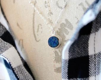 Blue Druzy Necklace,Sterling Silver Necklace, Druzy and sterling silver necklace,