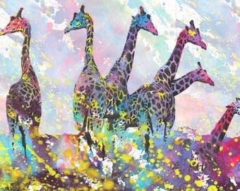 GIRAFFES art giraffe art poster art print animals nature illustration wall decor africa art texture
