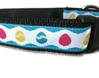 Easter Dog Collar, Blue Eggs, 1 inch wide, adjustable, quick release, metal buckle, chain, martingale, hybrid, nylon