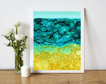 Coastal Home Decor, Beach House Decor, Abstract Ocean Print, Abstract Printable, Abstract Painting Print, Alcohol Ink Painting, 8x10 Print