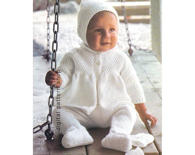 Baby Knitting Pattern Sweater Coat Leggings Pixie Hat Mittens Layette Instant Download