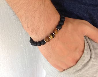 Black Onyx and tiger eyes men's bracelet - gemstone - Gift for him