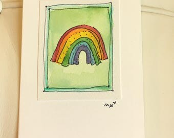 "Tiny Rainbow Note Watercolor Original ""Little Card"" 31/2"" x 47/8"" Watercolor Card and Envelope Inside etrueoriginals"