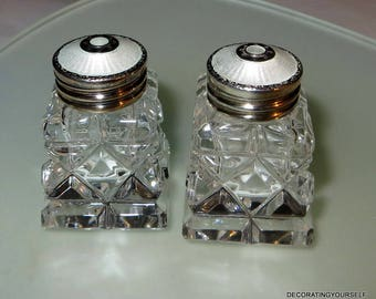 Theodor Olsens Norway Cut Glass Sterling Silver Salt and Pepper Shakers White Guilloche Tops