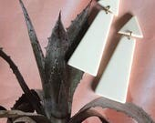 oversized IVORY geometric MODERNIST dangle earrings