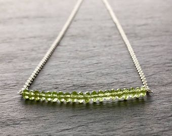 Peridot Bar Necklace. Sterling Silver Faceted Peridot Green Gemstones Bar Necklace. Raw Untreated August Birthstone Necklace.