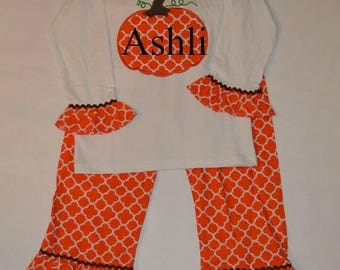 ON SALE SALE  Personalized Pumpkin Outfit sz 2T - Fall Shirt and Ruffle Pant Set