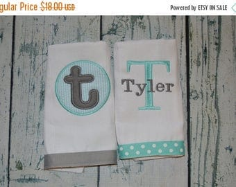 ON SALE Personalized  Burp Cloth Set of 2 Burpies MONOGRAM