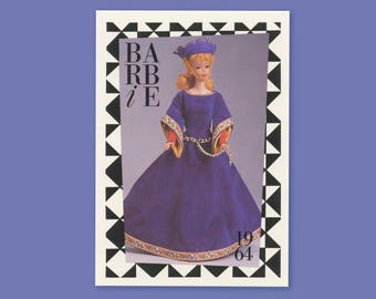 """Barbie Collectible Trading Card - """"Guinevere"""" -Card No. 71 for Barbie collectors, dioramas, 1964 Barbie history 5527-0321"""