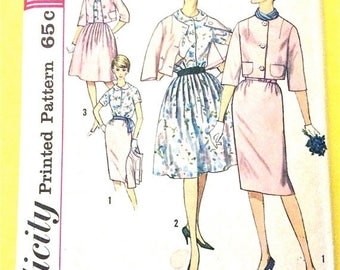 ON SALE Simplicity 4341 Early 1960's Separates 60s Suit Jackie O' misses jacket, blouse, two skirts Women's Vintage Sewing Pattern Bust 36