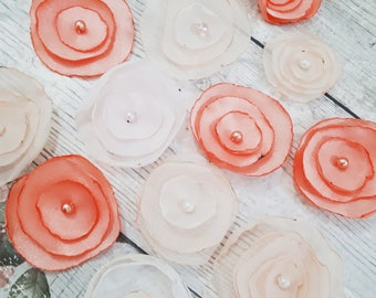 Orange pink peaches and cream mix of flower petals card applique scrapbooking embellishment one of a kind set of 12