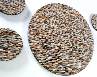 LARGE neutral round wall art set- made from recycled magazines, fun, unique circles, brown, tan, cream, rustic, interior design, wall art