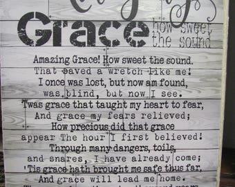 Amazing Grace,Inspirational Wooden Art Sign,Wooden Art Sign,Amazing Grace Hymn,12x16