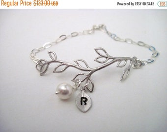 ON SALE Bridesmaid Jewelry Set of 7 Silver Vine Pearl and Initial Bracelets