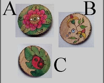 magnet refrigerator / office you choose wood burned pyrography 3 inch circles strong magnet sealed handmade