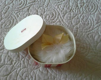 Vintage powder box and puff Geigy red and white striped plastic