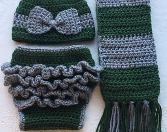 Slytherin Newborn Baby Girl Harry Potter Inspired Hat, Scarf, Diaper Cover with Bow & Ruffles Photo Prop Set Crochet Costume Gift Hogwarts