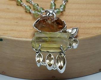 Peridot, Citrine,Golden Kyanite,Aura Quartz Necklace and Pendant
