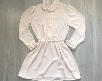 Vintage Ivory Semi Shee Lace and Ruffle Mini Secretary Dress