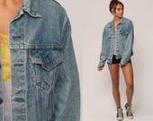 Levis Denim Jacket Trucker Jean Jacket 80s Denim Jacket Blue Levi Coat Oversized 1980s Vintage Retro Grunge Biker Hipster Small