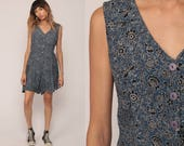 Floral Romper Dress Playsuit 90s Mini Dress Boho Blue Sleeveless One Piece Woman Skort 1990s Summer Grunge Button Up Medium