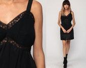 Mini Slip Dress 70s Black Nylon Nightgown Lingerie Gothic Vintage 1970s Empire Waist Spaghetti Strap Goth Large