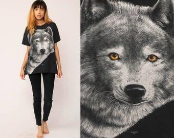 WOLF TShirt Animal T Shirt 90s Graphic Tshirt Black Hipster 1993 Screenprint Retro Grunge Shirt Screen Print Large